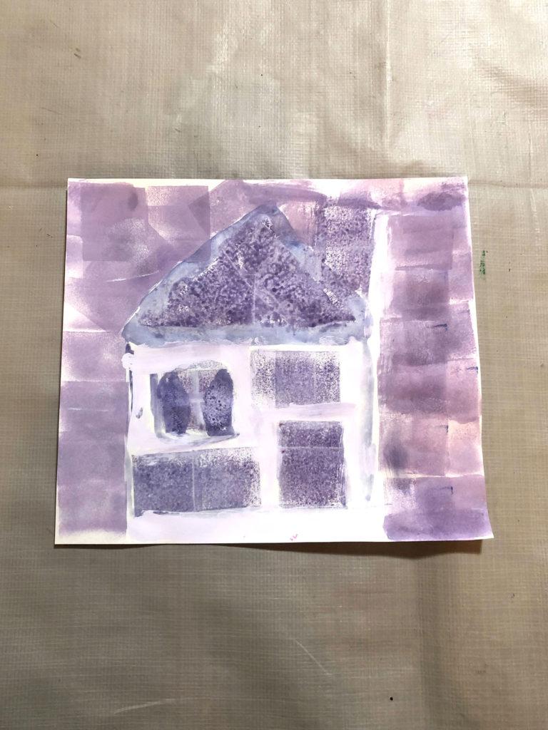 スポンジで描いた家
