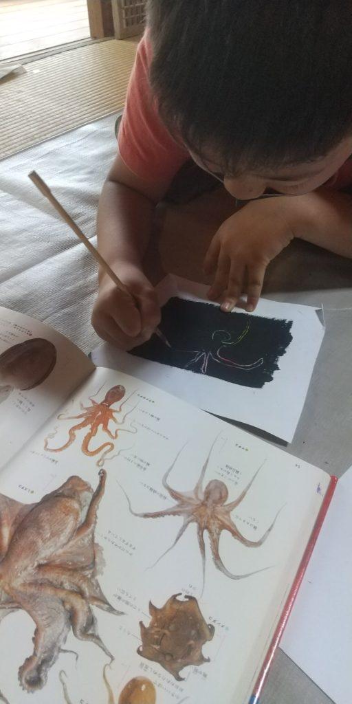 スクラッチアートタコを描く